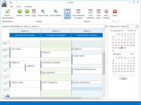 Un'agenda appuntamenti divisa per collaboratore