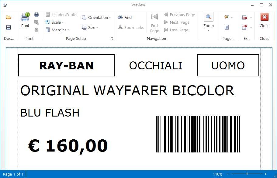 Stampa Etichetta Articoli con codice a barre