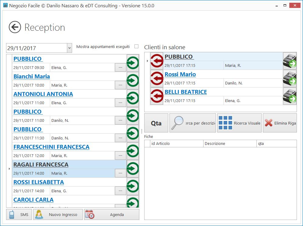 La scheda reception per visualizzare gli appuntamenti del giorno