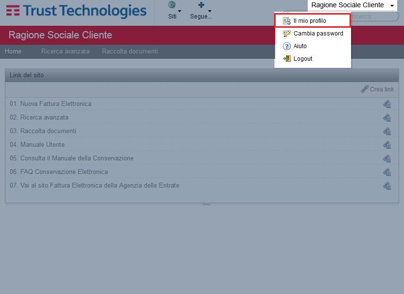 Accedere al profilo utente sul portale di Trust Technologies