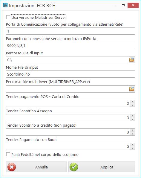 Impostazioni registratore telematico RCH