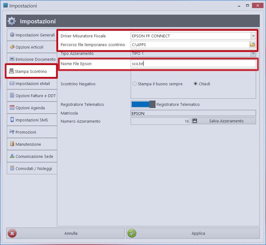 Negozio Facile: impostazioni Epson FP Suite