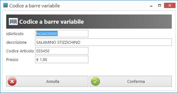 Codice a barre variabile