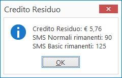 Credito residuo per l'invio di SMS