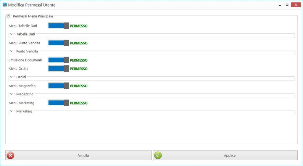 Editor dei permessi utente