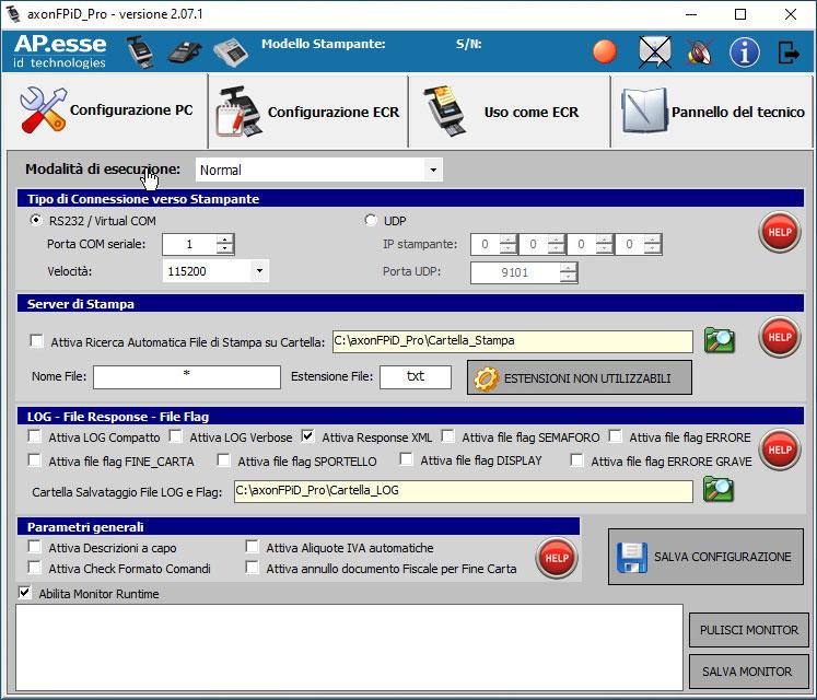 Axon FPiD Pro: finestra di configurazione