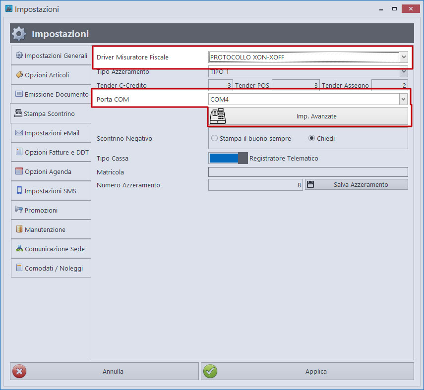 Impostazioni protocollo XON-XOFF su porta COM