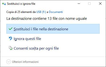 Sostituire i file esistenti