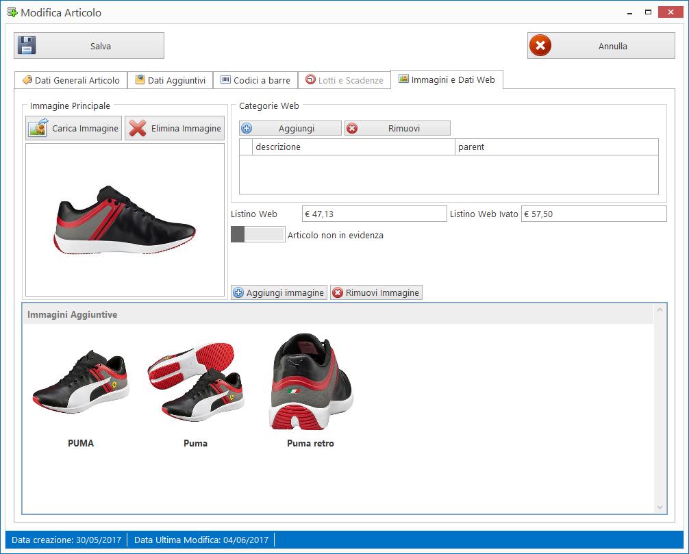 Modulo eCommerce: impostare immagini multiple per lo stesso articolo