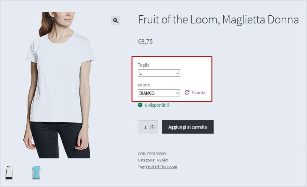 WooCommerce: esempio di prodotto variabile