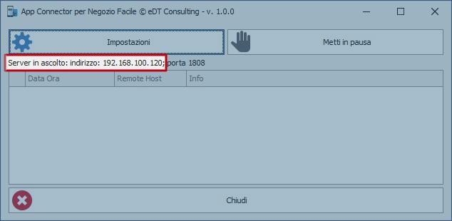 App Connector: Finestra principale con indirizzo IP