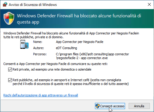 Windows Defender Firewall: autorizzare App Connector