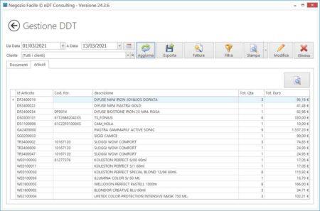 Gestione DDT Visualizzazione articoli