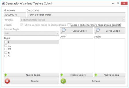 Generazione automatica varianti taglia colore e coppa